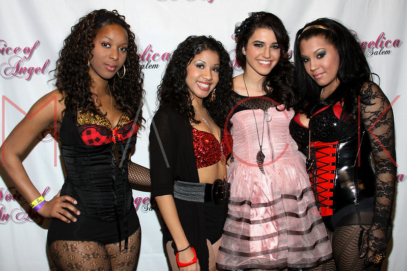 STAMFORD, CT - JANUARY 08:  Members of K.E.P. Infinity Phantasia 'Phancy' Thomas and Emily 'Memi' Young pose with singer Angelica Salem along with Kortney 'KO' Owens of K.E.P. Infinity at the Angelica Salem & friends benefit concert at the Stamford Palace Theatre on January 8, 2011 in Stamford, Connecticut.  (Photo by Steve Mack/S.D. Mack Pictures) *** Local Caption *** Phantasia 'Phancy' Thomas; Emily 'Memi' Young; Angelica Salem; Kortney 'KO' Owens