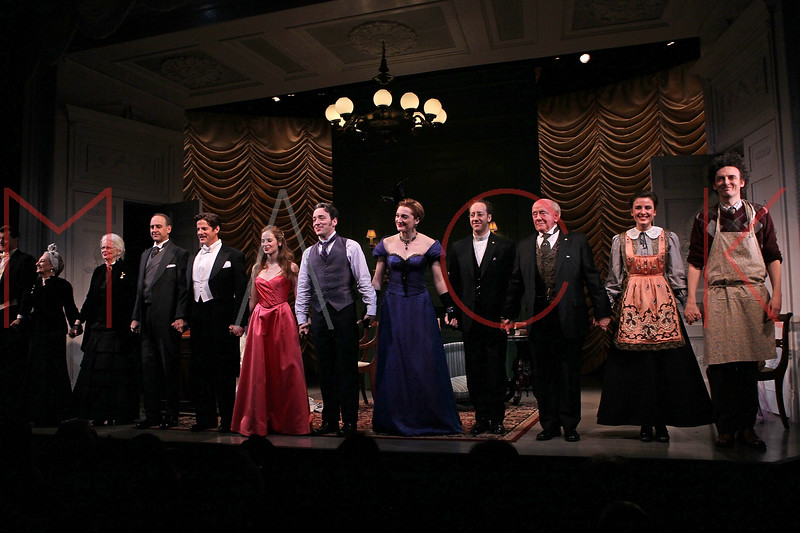"""NEW YORK, NY - JANUARY 26:  Cast members attend the curtain call at """"The New York Idea"""" Off-Broadway opening night at the Lucille Lortel Theatre on January 26, 2011 in New York City.  (Photo by Steve Mack/S.D. Mack Pictures)"""