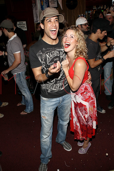 """NEW YORK, NY - JULY 16:  Dan Domenech and Rebecca Faulkenberry celebrate the 1000th performance of Broadway's """"Rock Of Ages"""" at Helen Hayes Theatre on July 16, 2011 in New York City.  (Photo by Steve Mack/S.D. Mack Pictures)"""
