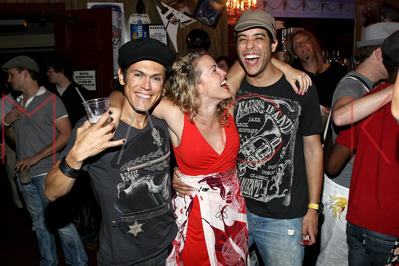 """NEW YORK, NY - JULY 16:  MiG Ayesa, Rebecca Faulkenberry and Dan Domenech celebrate the 1000th performance of Broadway's """"Rock Of Ages"""" at Helen Hayes Theatre on July 16, 2011 in New York City.  (Photo by Steve Mack/S.D. Mack Pictures)"""