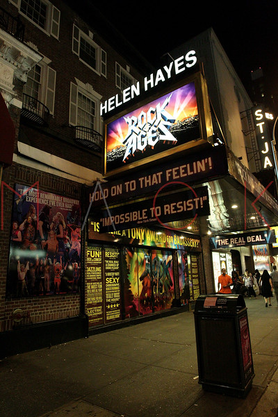"NEW YORK, NY - JULY 16:  Nighttime exterior of Helen Hays Theatre after the 1000th performance of Broadway's ""Rock Of Ages"" at Helen Hayes Theatre on July 16, 2011 in New York City.  (Photo by Steve Mack/S.D. Mack Pictures)"