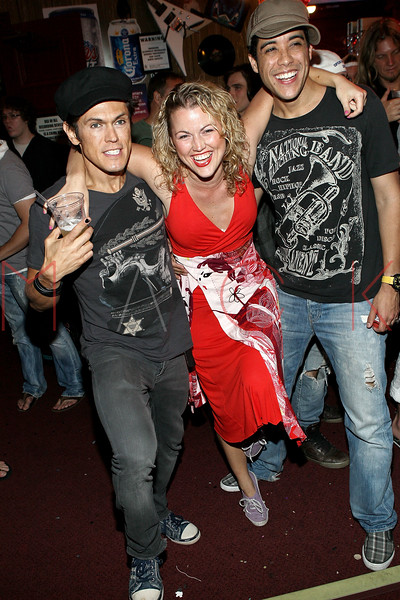 "NEW YORK, NY - JULY 16:  MiG Ayesa, Rebecca Faulkenberry and Dan Domenech celebrate the 1000th performance of Broadway's ""Rock Of Ages"" at Helen Hayes Theatre on July 16, 2011 in New York City.  (Photo by Steve Mack/S.D. Mack Pictures)"