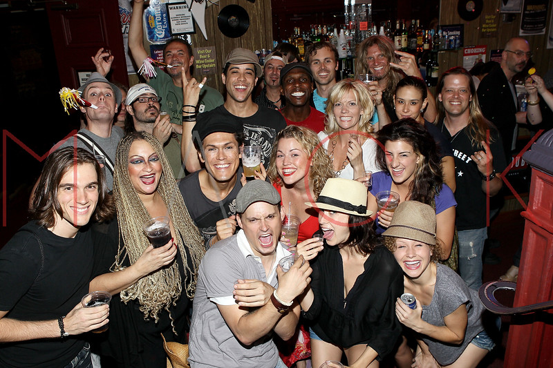 """NEW YORK, NY - JULY 16:  The cast and band celebrate the 1000th performance of Broadway's """"Rock Of Ages"""" at Helen Hayes Theatre on July 16, 2011 in New York City.  (Photo by Steve Mack/S.D. Mack Pictures)"""