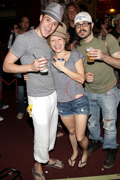 "NEW YORK, NY - JULY 16:  Cody Scott Lancaster, Josephine Rose Roberts and Mitchell Jarvis celebrate the 1000th performance of Broadway's ""Rock Of Ages"" at Helen Hayes Theatre on July 16, 2011 in New York City.  (Photo by Steve Mack/S.D. Mack Pictures)"