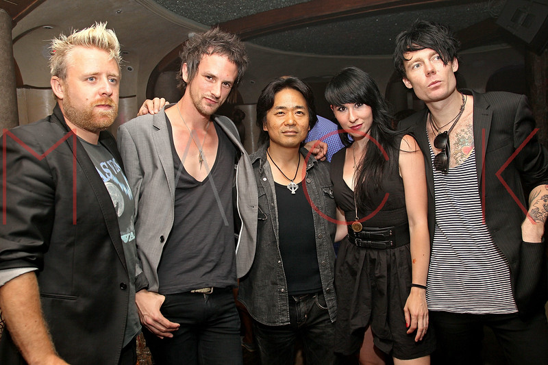 NEW YORK, NY - JULY 18:  Mitsu Tsuchiya (C) poses with members of Deluka, Stevie J. Palmer, Kris Kovacs, Ellie Innocenti and Robbie G attend the U.S. launch of Junks Tokyo/Japan at Kiss & Fly on July 18, 2011 in New York City.  (Photo by Steve Mack/S.D. Mack Pictures) *** Local Caption *** Stevie J. Palmer; Kris Kovacs; Mitsu Tsuchiya; Ellie Innocenti; Robbie G