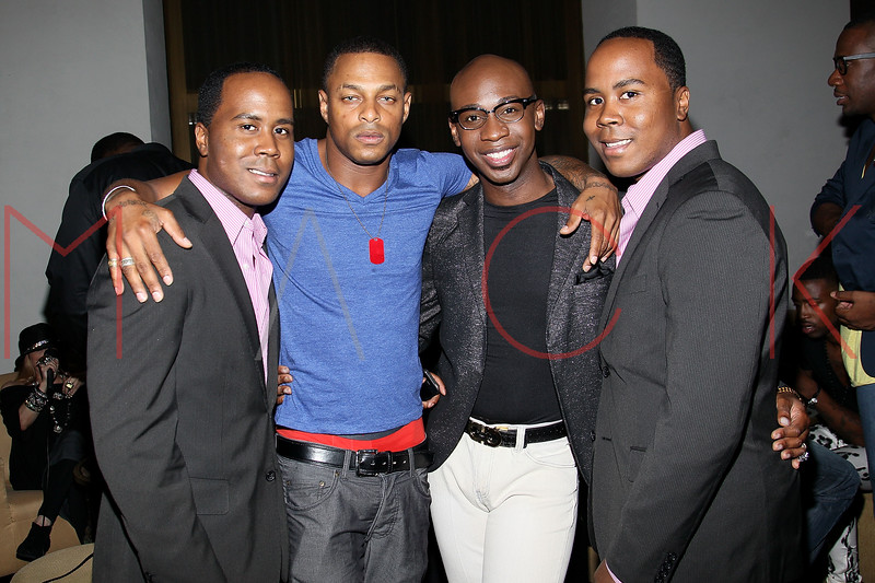 NEW YORK, NY - JULY 08:  Publicist Antoine Von Boozier, Model Proverbs Taylor, Stylist Luke Destin and Publicist Andre Von Boozier attends the Nuovo Magazine red carpet event at Trump World Towers on July 8, 2011 in New York City.  (Photo by Steve Mack/S.D. Mack Pictures) *** Local Caption *** Antoine Von Boozier; Proverbs Taylor; Luke Destin; Andre Von Boozier