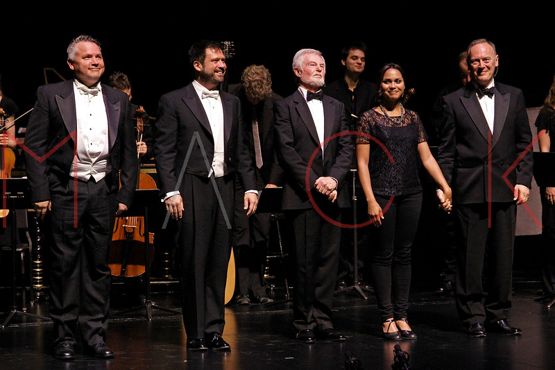 NEW YORK, NY - JUNE 13:  Bob McDonald, David Daniels, Sir Derek Jacobi, Monica Raymund and Richard Clifford on stage at the 2011 Juilliard Drama Benefit at the Peter Jay Sharp Theater on June 13, 2011 in New York City.  (Photo by Steve Mack/S.D. Mack Pictures) *** Local Caption *** Bob McDonald; David Daniels; Sir Derek Jacobi; Monica Raymund; Richard Clifford
