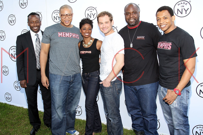 NEW YORK, NY - JUNE 06:  Montego Glover and Chad Kimball (middle) pose with cast members of Memphis at the 6th annual Made In NY awards at Gracie Mansion on June 6, 2011 in New York City.  (Photo by Steve Mack/S.D. Mack Pictures) *** Local Caption *** Montego Glover; Chad Kimball