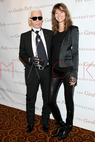 New York - June 01: Karl Lagerfeld, Freja in attendance at The Gordon Parks Foundation Awards Dinner and Auction at Gotham Hall on Wednesday, June 1, 2011 in New York, NY.  (Photo by Steve Mack/S.D. Mack Pictures)