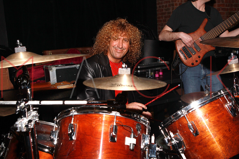NEW YORK, NY - MARCH 24:  Musician Michael Demetrious (drums) of Just Visiting performs at designer Alexa Winner's birthday Party at The Chelsea Room on March 24, 2011 in New York City.  (Photo by Steve Mack/S.D. Mack Pictures) *** Local Caption *** Michael Demetrious