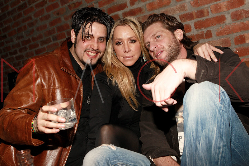 "NEW YORK, NY - MARCH 24:  Musician Johnny Roset Cervini of ""Just Visiting"", Anna Rothschild and Phillip Langer attend designer Alexa Winner's birthday Party at The Chelsea Room on March 24, 2011 in New York City.  (Photo by Steve Mack/S.D. Mack Pictures) *** Local Caption *** Johnny Roset Cervini; Anna Rothschild; Phillip Langer"