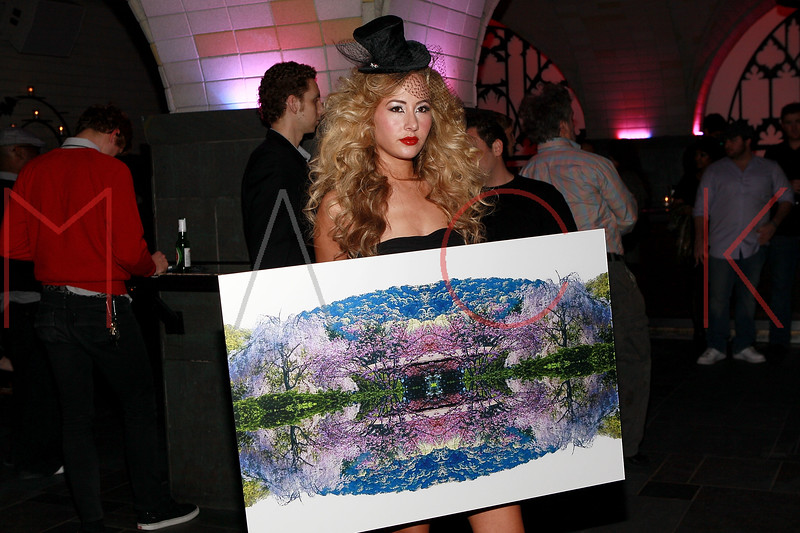 NEW YORK, NY - MARCH 26:  A model poses with artwork at the Art.Sound Movement Launch Party at The Bryant Park Hotel on March 26, 2011 in New York City.  (Photo by Steve Mack/S.D. Mack Pictures)