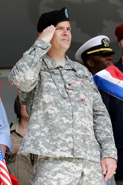 NEW YORK, NY - MAY 30:  A Soldier salutes as he attends the 2011 Memorial Day Parade on May 30, 2011 in the Brooklyn Borough of New York City.  (Photo by Steve Mack/S.D. Mack Pictures)