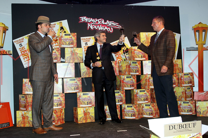 NEW YORK, NY - NOVEMBER 16:  Kaves, Franck Duboeuf and Peter Deutsch attend the 2011 Georges Duboeuf Beaujolais Nouveau unveiling at Stage 37 on November 16, 2011 in New York City.  (Photo by Steve Mack/S.D. Mack Pictures) *** Local Caption *** Kaves; Franck Duboeuf; Peter Deutsch