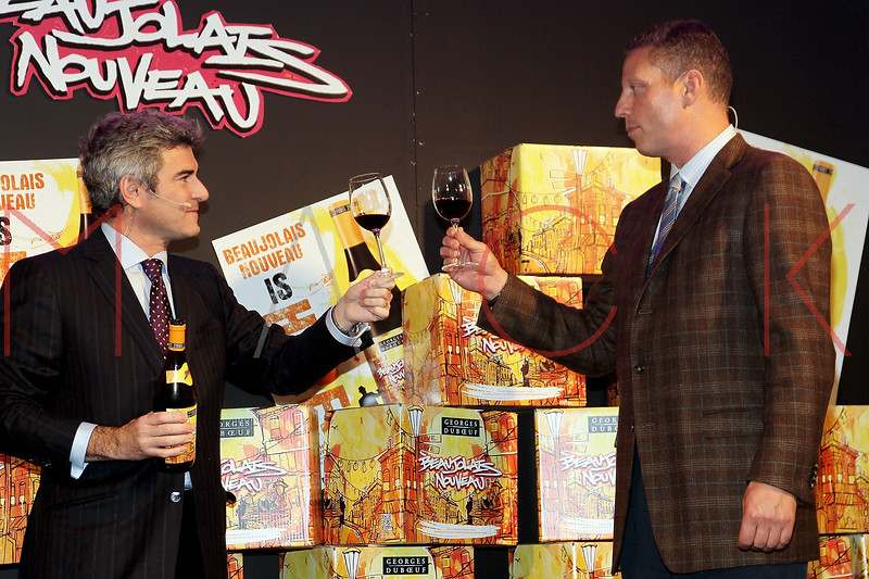 NEW YORK, NY - NOVEMBER 16:  Franck Duboeuf and Peter Deutsch attend the 2011 Georges Duboeuf Beaujolais Nouveau unveiling at Stage 37 on November 16, 2011 in New York City.  (Photo by Steve Mack/S.D. Mack Pictures) *** Local Caption *** Franck Duboeuf; Peter Deutsch