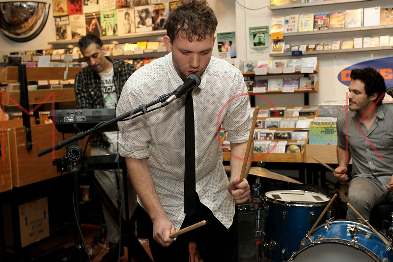 NEW YORK, NY - NOVEMBER 22:  Sam Hopkins (synths), Matt Iwanusa (main singer-songwriter) and Stefan Marolachakis (drums) perform at Other Music on November 22, 2011 in New York City.  (Photo by Steve Mack/S.D. Mack Pictures) *** Local Caption *** Sam Hopkins; Matt Iwanusa; Stefan Marolachakis