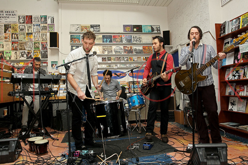 "NEW YORK, NY - NOVEMBER 22:  Sam Hopkins (synths), Matt Iwanusa (main singer-songwriter), Stefan Marolachakis (drums), Jimmy ""Cobra"" Carbonetti  (guitarist) and Jeff Berrall (bass) perform at Other Music on November 22, 2011 in New York City.  (Photo by Steve Mack/S.D. Mack Pictures) *** Local Caption *** Sam Hopkins; Matt Iwanusa; Stefan Marolachakis; Jimmy ""Cobra"" Carbonetti; Jeff Berrall"