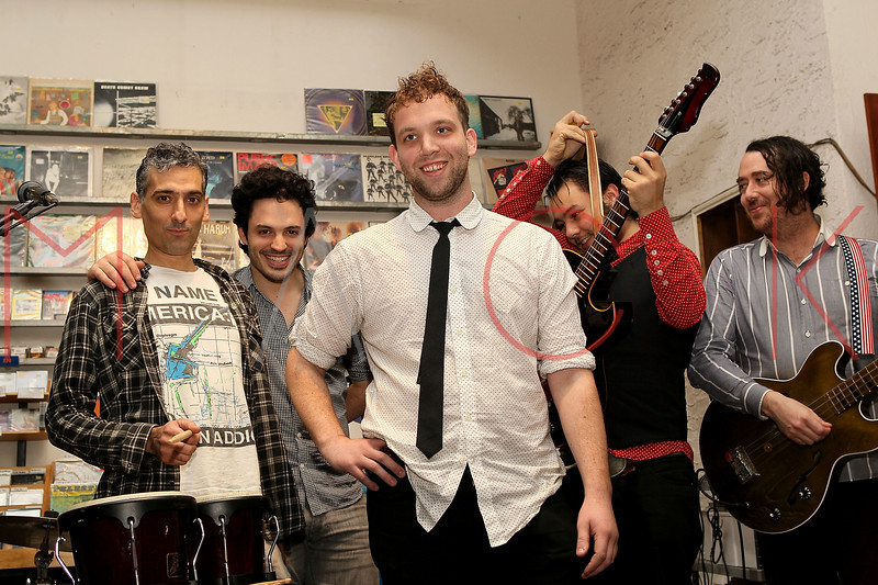 "NEW YORK, NY - NOVEMBER 22:  Sam Hopkins (synths), Stefan Marolachakis (drums), Matt Iwanusa (main singer-songwriter), Jimmy ""Cobra"" Carbonetti  (guitarist) and Jeff Berrall (bass) perform at Other Music on November 22, 2011 in New York City.  (Photo by Steve Mack/S.D. Mack Pictures) *** Local Caption *** Sam Hopkins; Stefan Marolachakis; Matt Iwanusa; Jimmy ""Cobra"" Carbonetti; Jeff Berrall"