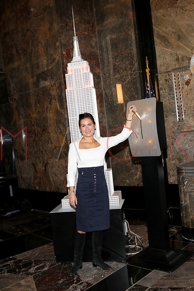 NEW YORK, NY - NOVEMBER 01:  Jennifer Leuzzi lights the The Empire State Building on November 1, 2011 in New York City.  (Photo by Steve Mack/S.D. Mack Pictures) *** Local Caption *** Jennifer Leuzzi