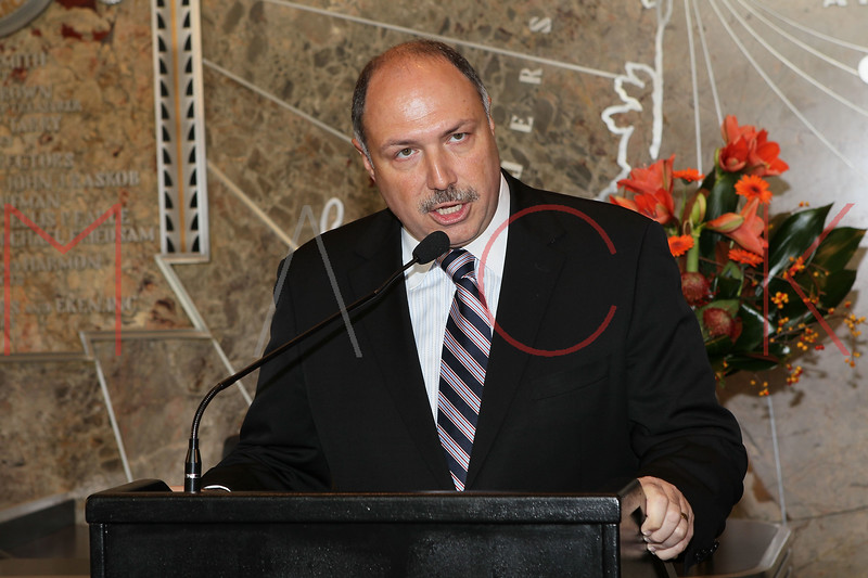 NEW YORK, NY - NOVEMBER 01:  Empire State Building General Manager Joseph Bellina welcomes members of The Food Bank for New York City for the lighting of the The Empire State Building on November 1, 2011 in New York City.  (Photo by Steve Mack/S.D. Mack Pictures) *** Local Caption *** Joseph Bellina