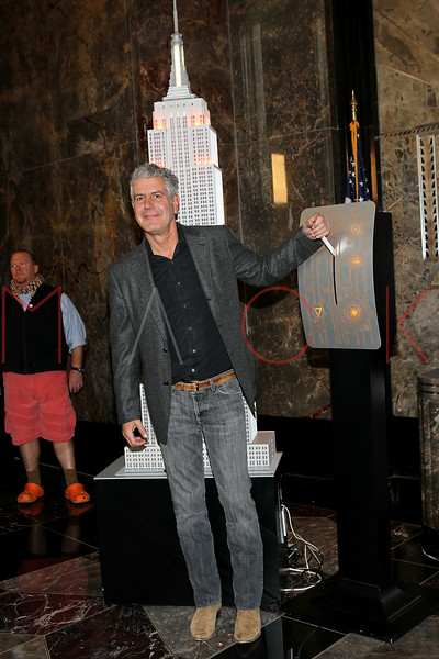 NEW YORK, NY - NOVEMBER 01:  Anthony Bourdain lights the The Empire State Building on November 1, 2011 in New York City.  (Photo by Steve Mack/S.D. Mack Pictures) *** Local Caption *** Anthony Bourdain
