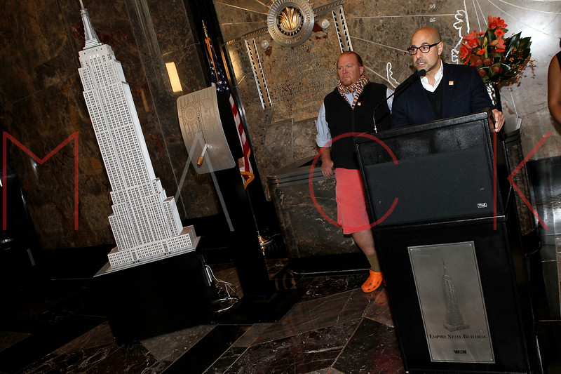 NEW YORK, NY - NOVEMBER 01:  Mario Batali and Stanley Tucci light the The Empire State Building on November 1, 2011 in New York City.  (Photo by Steve Mack/S.D. Mack Pictures) *** Local Caption *** Mario Batali; Stanley Tucci