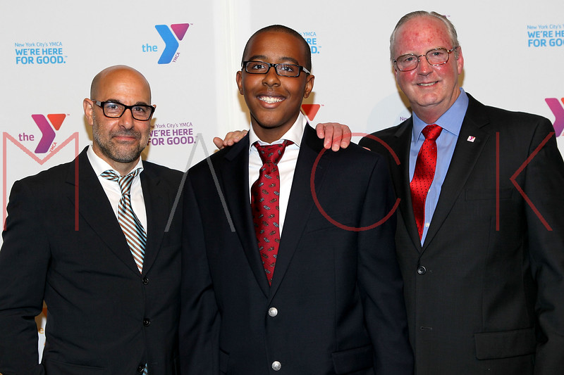 NEW YORK, NY - OCTOBER 24:  Stanley Tucci, Duzay Burnett and President and CEO of The YMCA of Greater New York Jack Lund attend the 2011 YMCA of Greater New York's Arts & Letters auction at Frederick P. Rose Hall, Jazz at Lincoln Center on October 24, 2011 in New York City.  (Photo by Steve Mack/S.D. Mack Pictures) *** Local Caption *** Stanley Tucci; Duzay Burnett; Jack Lund