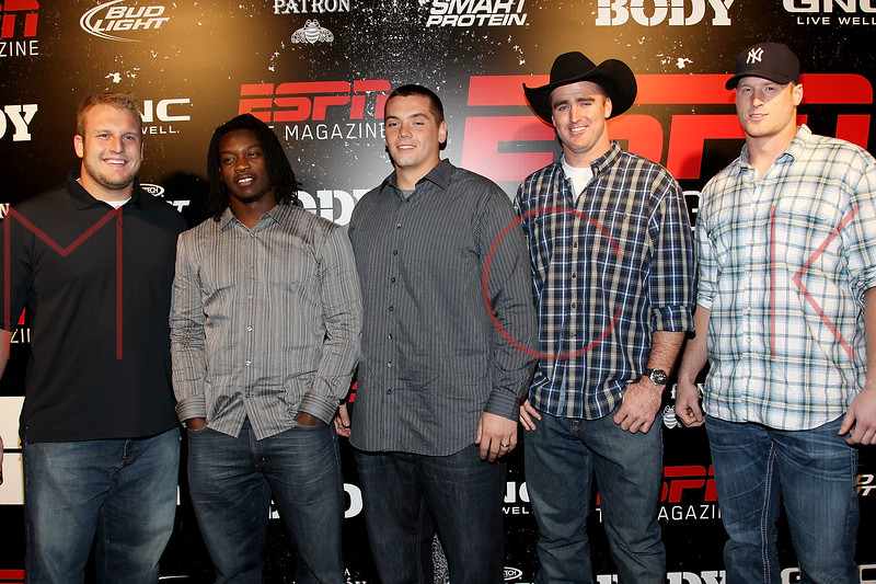 NEW YORK, NY - OCTOBER 06:  NFL players for the New York Giants Mitch Petrus, Greg Jones, Jr., Jim Cordle, Bear Pescoe, Jake Ballard attend ESPN the Magazine's 3rd annual Body Issue party at Highline Stages on October 6, 2011 in New York City.  (Photo by Steve Mack/S.D. Mack Pictures) *** Local Caption *** Mitch Petrus; Greg Jones; Jr.; Jim Cordle; Bear Pescoe; Jake Ballard