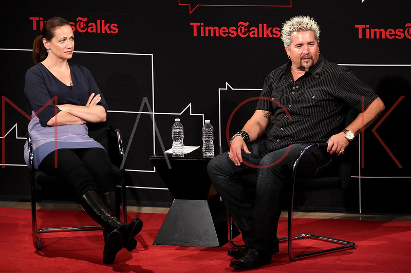 NEW YORK, NY - OCTOBER 01:  NY Times food writer Julia Moskin and Author Guy Fieri attend a New York Time TimesTalks at The Times Center on October 1, 2011 in New York City.  (Photo by Steve Mack/FilmMagic) *** Local Caption *** Julia Moskin; Guy Fieri