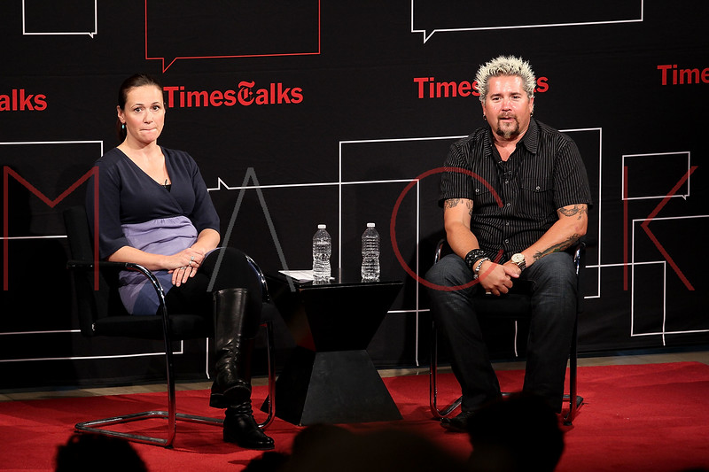 NEW YORK, NY - OCTOBER 01:  New York Times food writer Julia Moskin and author Guy Fieri attend a New York Time TimesTalks at The Times Center on October 1, 2011 in New York City.  (Photo by Steve Mack/FilmMagic) *** Local Caption *** Guy Fieri; Julia Moskin