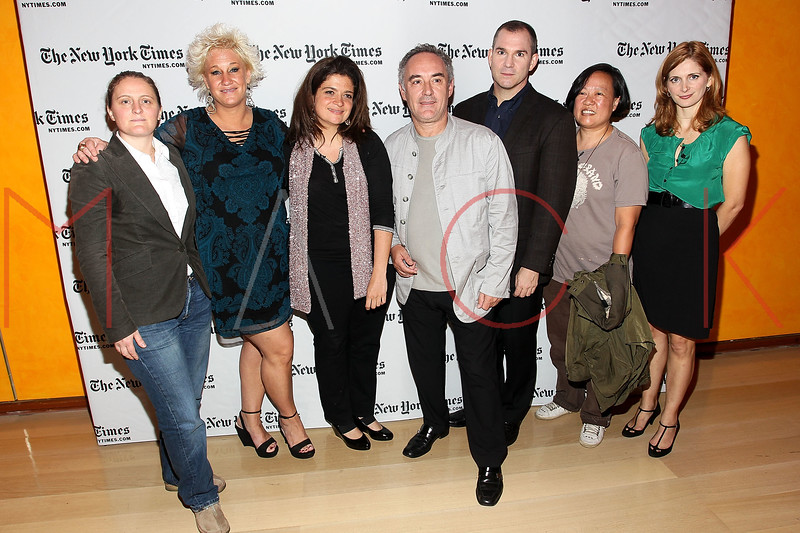 NEW YORK, NY - OCTOBER 01:  April Bloomfield, Anne Burrell, Alexandra Guarnaschelli, Ferran Adria, Frank Bruni, Anita Lo and Melissa Clark attend a New York Time TimesTalks at The Times Center on October 1, 2011 in New York City.  (Photo by Steve Mack/FilmMagic) *** Local Caption *** April Bloomfield; Anne Burrell; Alexandra Guarnaschelli; Ferran Adria; Frank Bruni; Anita Lo; Melissa Clark