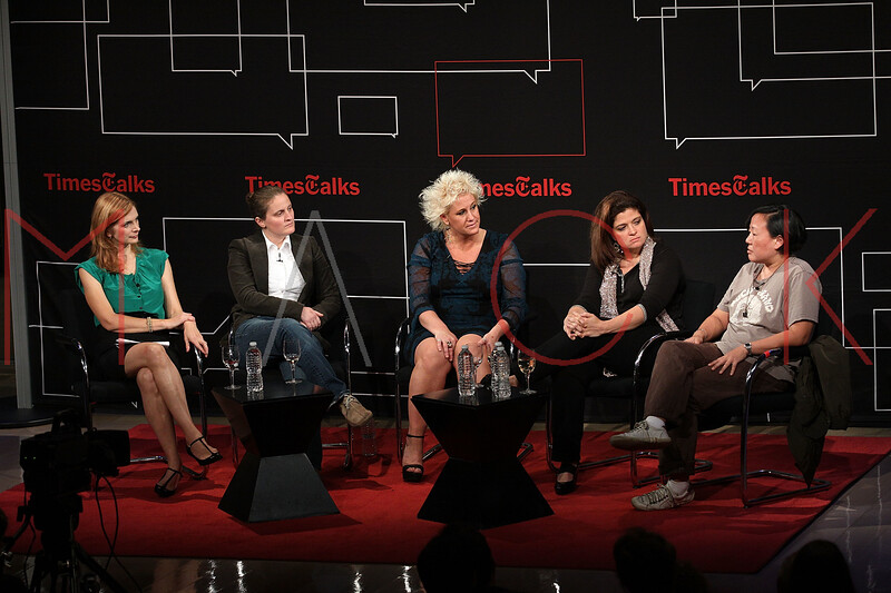NEW YORK, NY - OCTOBER 01:  Melissa <br /> Clark, April Bloomfield, Anne Burrell, Alexandra Guarnaschelli and Anita Lo attend a New York Time TimesTalks at The Times Center on October 1, 2011 in New York City.  (Photo by Steve Mack/FilmMagic) *** Local Caption *** Melissa Clark; April Bloomfield; Anne Burrell; Alexandra Guarnaschelli; Anita Lo