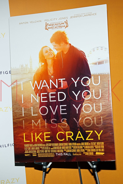 """NEW YORK, NY - OCTOBER 18:  Atmosphere (movie poster) at the """"Like Crazy"""" premiere at the Sunshine Landmark theater on October 18, 2011 in New York City.  (Photo by Steve Mack/S.D. Mack Pictures)"""