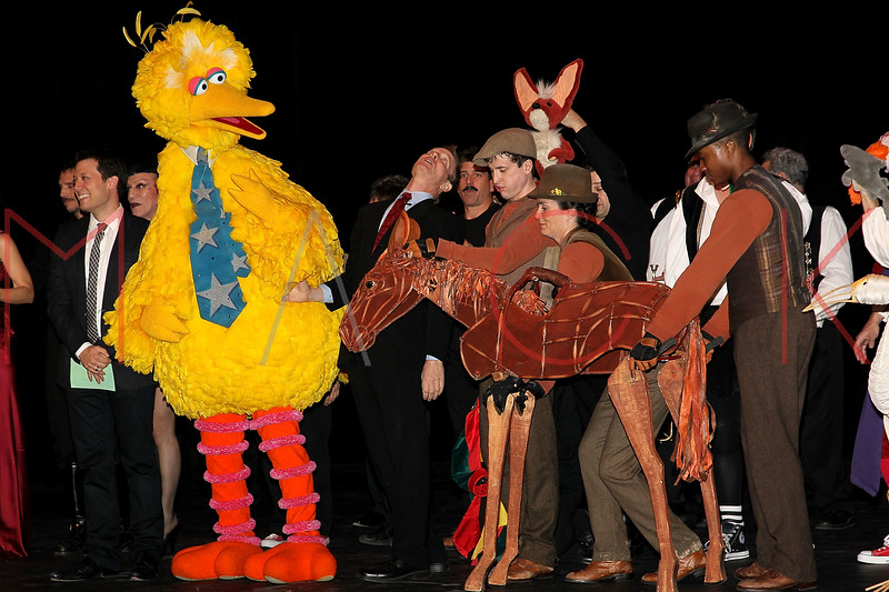 "NEW YORK, NY - OCTOBER 17:  Big Bird and Joey from ""War Horse"" during the curtain call at The New 42nd Street Gala at the The New Victory Theater on October 17, 2011 in New York City.  (Photo by Steve Mack/S.D. Mack Pictures) *** Local Caption *** Big Bird; Joey"