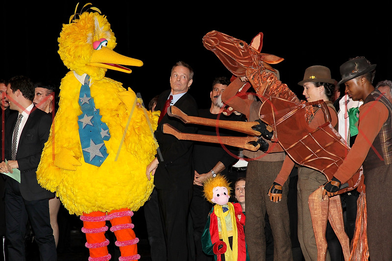 """NEW YORK, NY - OCTOBER 17:  Big Bird, Bill Irwin and Joey from """"War Horse"""" during the curtain call at The New 42nd Street Gala at the The New Victory Theater on October 17, 2011 in New York City.  (Photo by Steve Mack/S.D. Mack Pictures) *** Local Caption *** Big Bird; Bill Irwin; Joey"""