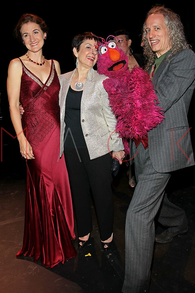 "NEW YORK, NY - OCTOBER 17:  Cheryl Henson, Cora Cahan and Telly Monster and Martin P. Robinson from ""Sesame Street"" attend The New 42nd Street Gala at the The New Victory Theater on October 17, 2011 in New York City.  (Photo by Steve Mack/S.D. Mack Pictures) *** Local Caption *** Cheryl Henson; Cora Cahan; Telly Monster; Martin P. Robinson"