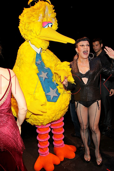"NEW YORK, NY - OCTOBER 17:  Big Bird from ""Saesame Street"" and Joey Arias during the curtain call at The New 42nd Street Gala at the The New Victory Theater on October 17, 2011 in New York City.  (Photo by Steve Mack/S.D. Mack Pictures) *** Local Caption *** Big Bird; Joey Arias"