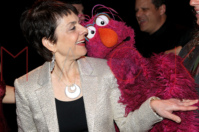"NEW YORK, NY - OCTOBER 17:  Cora Cahan and Telley Monster from ""Sesame Street"" attend The New 42nd Street Gala at the The New Victory Theater on October 17, 2011 in New York City.  (Photo by Steve Mack/S.D. Mack Pictures) *** Local Caption *** Cora Cahan; Telly Monster"