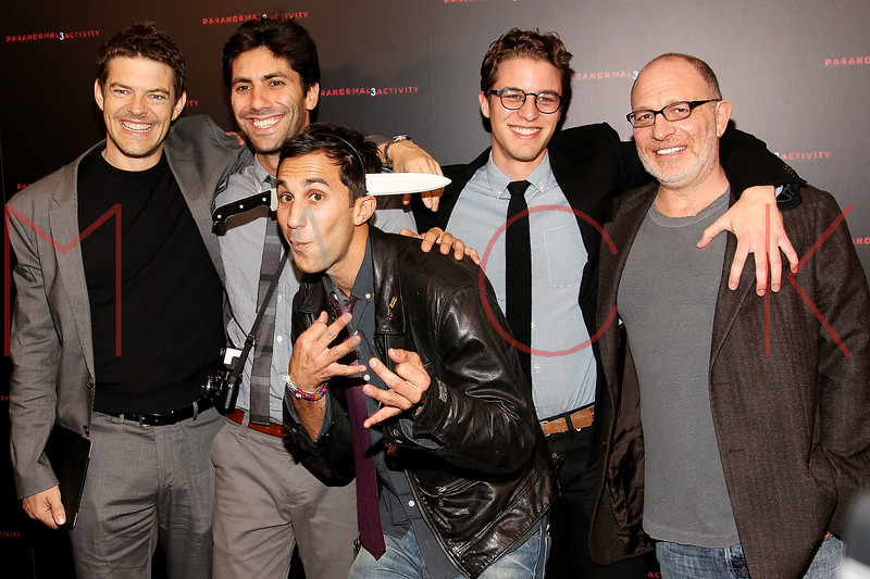 "NEW YORK, NY - OCTOBER 18:  Producer Jason Blum, Yaniv Schulman, Co-director Ariel Schulman, co-director Henry Joost and producer Akiva Goldsman attend the ""Paranormal Activity 3"" super-fan screening at the Regal Union Square Theatre, Stadium 14 on October 18, 2011 in New York City.  (Photo by Steve Mack/S.D. Mack Pictures) *** Local Caption *** Jason Blum; Yaniv Schulman; Ariel Schulman; Henry Joost; Akiva Goldsman"