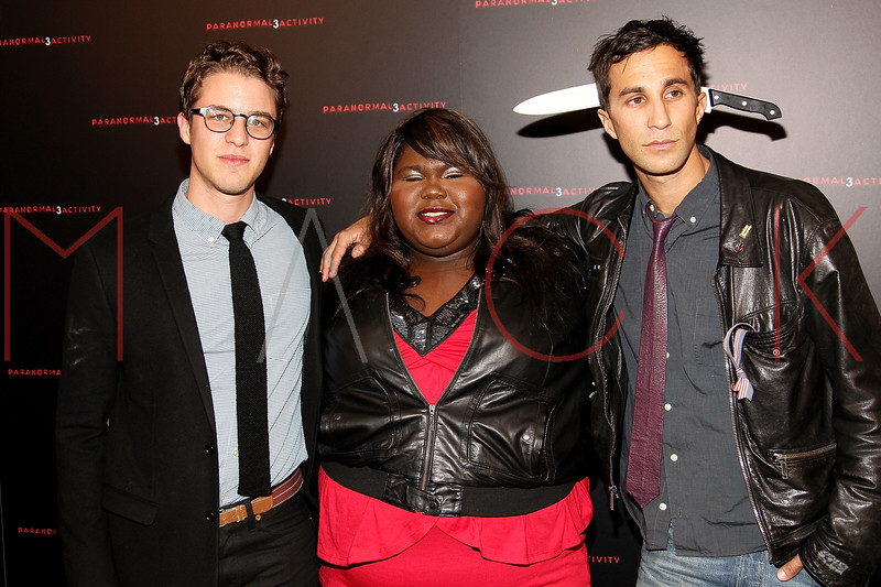 "NEW YORK, NY - OCTOBER 18:  Co-director Henry Joost, Gabourey Sidibe and co-director Ariel Schulman attend the ""Paranormal Activity 3"" super-fan screening at the Regal Union Square Theatre, Stadium 14 on October 18, 2011 in New York City.  (Photo by Steve Mack/S.D. Mack Pictures) *** Local Caption *** Henry Joost; Gabourey Sidibe; Ariel Schulman"