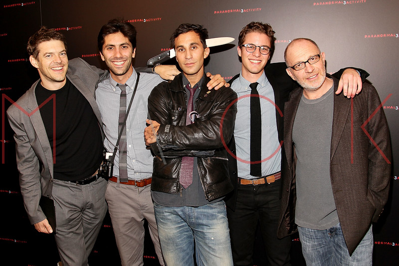 """NEW YORK, NY - OCTOBER 18:  Producer Jason Blum, Yaniv Schulman, Co-director Ariel Schulman, co-director Henry Joost and producer Akiva Goldsman attend the """"Paranormal Activity 3"""" super-fan screening at the Regal Union Square Theatre, Stadium 14 on October 18, 2011 in New York City.  (Photo by Steve Mack/S.D. Mack Pictures) *** Local Caption *** Jason Blum; Yaniv Schulman; Ariel Schulman; Henry Joost; Akiva Goldsman"""