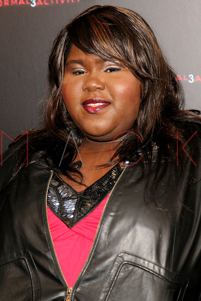 "NEW YORK, NY - OCTOBER 18:  Gabourey Sidibe attends the ""Paranormal Activity 3"" super-fan screening at the Regal Union Square Theatre, Stadium 14 on October 18, 2011 in New York City.  (Photo by Steve Mack/S.D. Mack Pictures) *** Local Caption *** Gabourey Sidibe"