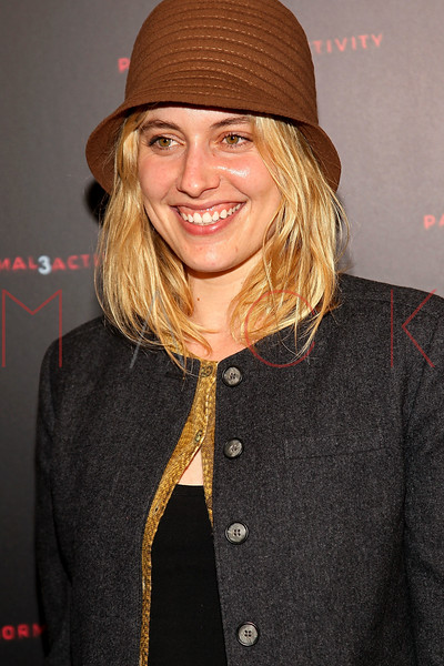 """NEW YORK, NY - OCTOBER 18:  Greta Gerwig attends the """"Paranormal Activity 3"""" super-fan screening at the Regal Union Square Theatre, Stadium 14 on October 18, 2011 in New York City.  (Photo by Steve Mack/S.D. Mack Pictures) *** Local Caption *** Greta Gerwig"""