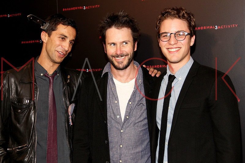 "NEW YORK, NY - OCTOBER 18:  Co-director Ariel Schulman, Josh Hamilton and co-director Henry Joos attend the ""Paranormal Activity 3"" super-fan screening at the Regal Union Square Theatre, Stadium 14 on October 18, 2011 in New York City.  (Photo by Steve Mack/S.D. Mack Pictures) *** Local Caption *** Ariel Schulman; Josh Hamiltonn; Henry Joos"