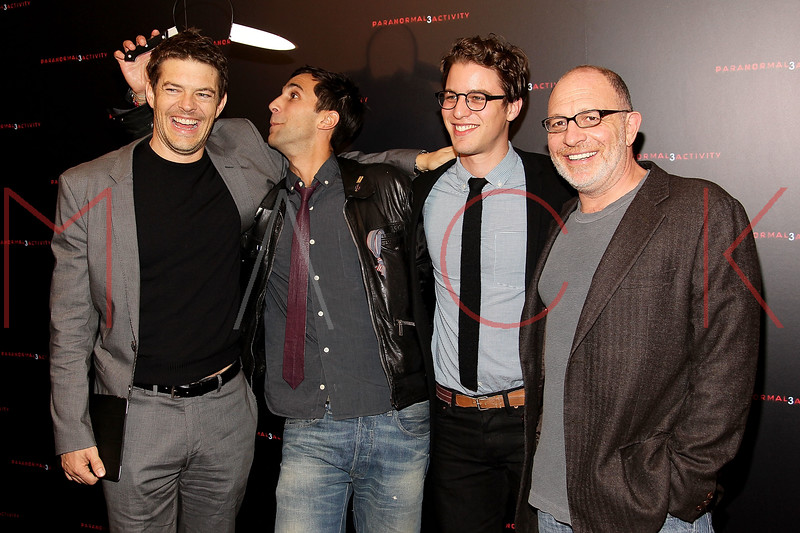 "NEW YORK, NY - OCTOBER 18:  Producer Jason Blum, Co-director Ariel Schulman, co-director Henry Joost and producer Akiva Goldsman attend the ""Paranormal Activity 3"" super-fan screening at the Regal Union Square Theatre, Stadium 14 on October 18, 2011 in New York City.  (Photo by Steve Mack/S.D. Mack Pictures) *** Local Caption *** Jason Blum; Ariel Schulman; Henry Joost; Akiva Goldsman"