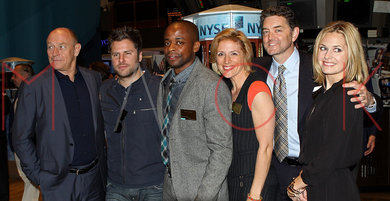 "NEW YORK, NY - OCTOBER 06:  Actors Corbin Bernsen, James Roday, Dulé Hill, Kirsten Nelson, Timothy Omundson and Maggie Lawson from the cast of ""Psych""  visit the New York Stock Exchange on October 6, 2011 in New York City.  (Photo by Steve Mack/S.D. Mack Pictures) *** Local Caption *** Corbin Bernsen; James Roday; Dulé Hill; Kirsten Nelson; Timothy Omundson; Maggie Lawson"