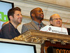 "NEW YORK, NY - OCTOBER 06:  Actors James Roday, Dulé Hill and co-president, USA Network Jeff Wachtel from visit ""Psych""  visit the New York Stock Exchange on October 6, 2011 in New York City.  (Photo by Steve Mack/S.D. Mack Pictures) *** Local Caption *** James Roday; Dulé Hill; Jeff Wachtel"