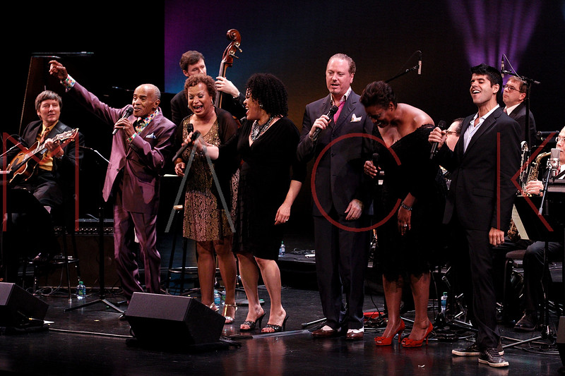 NEW YORK, NY - SEPTEMBER 24:  Jon Hendricks, Michelle Hendricks, Aria Hendricks, Kevin Fitzgerald Burke, Dianne Reeves and Sachal Vasandani perform during the 2011 Jazz At Lincoln Center Opening Night Concert featuring Jon Hendricks & Jimmy Heath at the Rose Theater, Jazz at Lincoln Center on September 24, 2011 in New York City.  (Photo by Steve Mack/S.D. Mack Pictures) *** Local Caption *** Jon Hendricks; Michelle Hendricks; Aria Hendricks; Kevin Fitzgerald Burke; Dianne Reeves; Sachal Vasandani