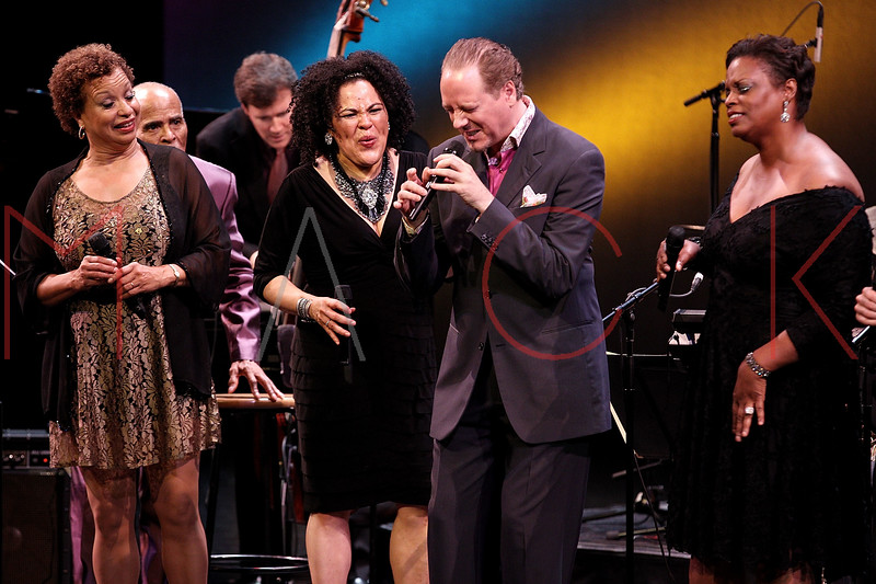 NEW YORK, NY - SEPTEMBER 24:  Michelle Hendricks, Aria Hendricks, Kevin Fitzgerald Burke and Dianne Reeves perform during the 2011 Jazz At Lincoln Center Opening Night Concert featuring Jon Hendricks & Jimmy Heath at the Rose Theater, Jazz at Lincoln Center on September 24, 2011 in New York City.  (Photo by Steve Mack/S.D. Mack Pictures) *** Local Caption *** Michelle Hendricks; Aria Hendricks; Kevin Fitzgerald Burke; Dianne Reeves