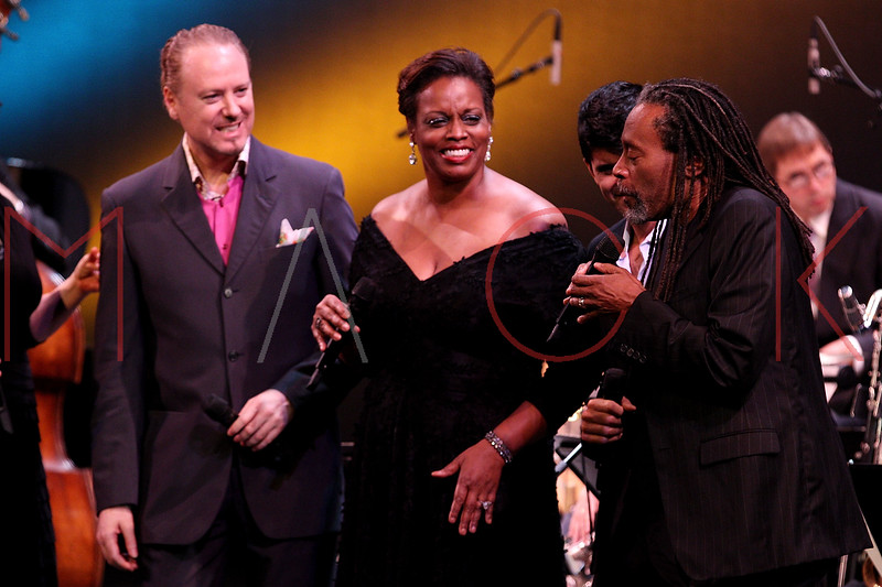NEW YORK, NY - SEPTEMBER 24:  Kevin Fitzgerald Burke, Dianne Reeves and Bobby McFerrin perform during the 2011 Jazz At Lincoln Center Opening Night Concert featuring Jon Hendricks & Jimmy Heath at the Rose Theater, Jazz at Lincoln Center on September 24, 2011 in New York City.  (Photo by Steve Mack/S.D. Mack Pictures) *** Local Caption *** Kevin Fitzgerald Burke; Dianne Reeves; Bobby McFerrin